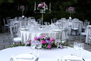 candelabras flower arrangments wedding italy castle borgia