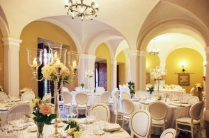 reception room wedding italy castle borgia