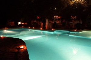 wedding reception pool catering italy tuscany castle borgia