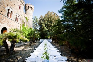 long table outside wedding italy castle borgia