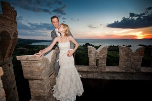 sunset terrace wedding italy umbria castle borgia