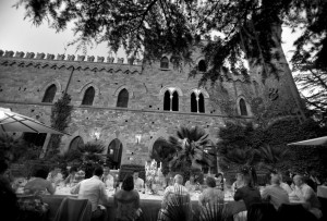 table arrangments outside wedding castle italy castle borgia