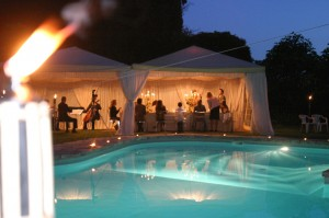 wedding party pool italy wedding castle borgia